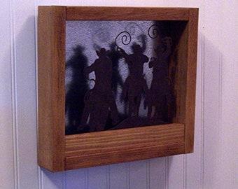 Cowboy Scene Wall Mount Shadow Box ~ Rustic Decor ~ Cabin/Lodge/Western
