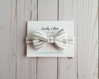 Little Guy Bow Tie, Baby Bow Tie, Toddler Bow Tie, Boy Bow Tie, Modern Bow Tie, Baby Wedding Bow Tie, Grey and White, Striped