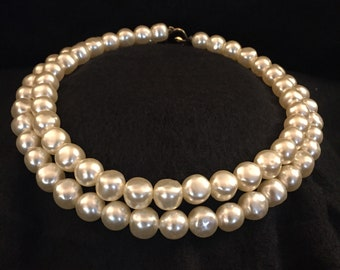 Classy faux large fresh water pearl 2 strand necklace