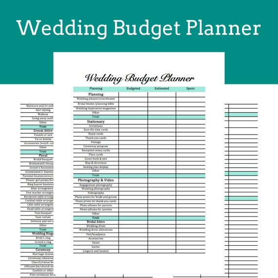 Wedding Budget Planner Printable Instant Download Etsy