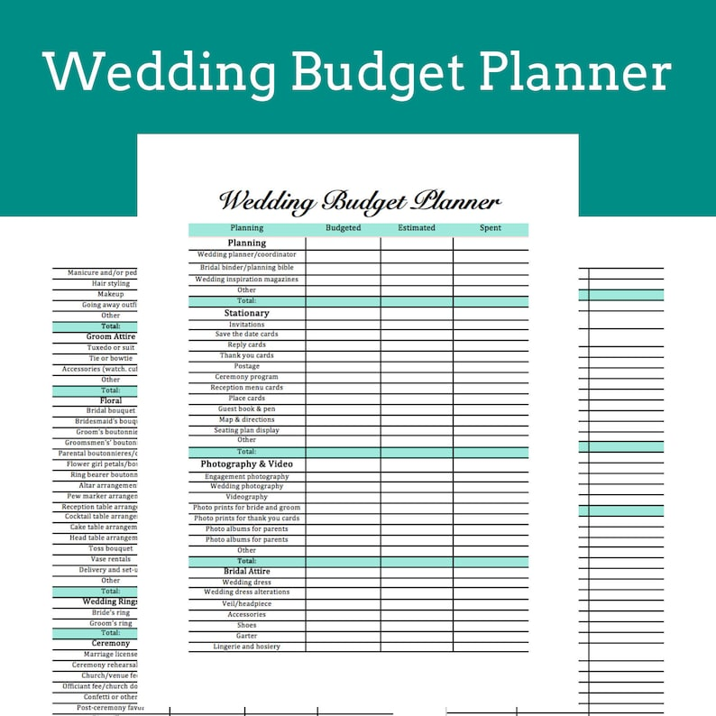 photograph relating to Wedding Budget Printable titled Marriage ceremony Price range Planner Printable Fast Obtain Wedding ceremony Planner Binder Do it yourself Coming up with Marriage ceremony Coming up with