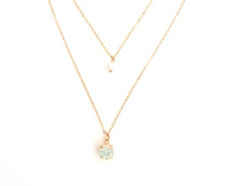 delicate layered necklace, gold layered necklace, opal necklace, dainty opal necklace, delicate opal necklace, mint green necklace