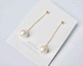 cad81f774 Pearl dangle earrings, Long dangle earrings, Dainty earrings, Pearl wedding  earrings, Bridesmaid earrings with pearl