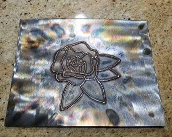 Tig Welded Rose Metal Wall Art