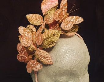 Pale Pink Vintage Inspired Headpiece / Fascinator with leaves and butterfly detail.