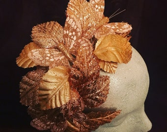 Rose gold petal Fascinator / Headpiece with butterfly detail