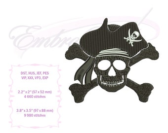 Badass Jolly Roger Embroidery Design
