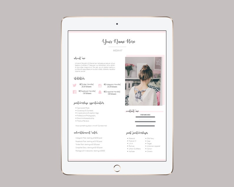 Feminine Influencer Media Kit Template for Instagram Influencers and  Bloggers - INSTANT DOWNLOAD (Adobe InDesign)