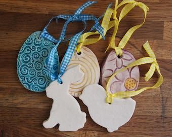 5 Ceramic hanging Easter decorations