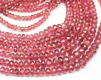 """Natural Red Spinel Faceted Rondelle Loose Gemstone Beads Strand 18"""" 3mm 6mm - Jewelry Making"""