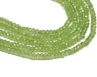 """Olivine Green Peridot Faceted Rondelle Craft Gemstone Loose Beads Strand 3mm 13"""" - Jewelry Making"""
