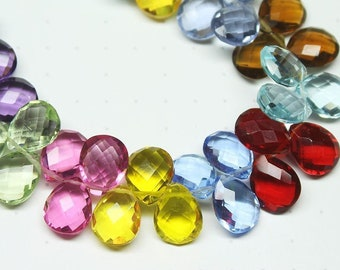 "Multi Quartz Faceted Pear Briolette Drop Craft Pair Gemstone Beads 7"" 10mm x 8mm - Jewelry Making"