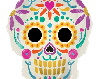 Colorful Sugar Skull Balloon Day Of The Dead Dia De Los Muertos Halloween Party Happy