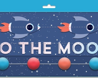 """Rocket Planet Mini Banner Set """"I Love You To The Moon and Back"""" Paper Rocket Ship Astronaut Moon Outer Space Birthday Planet Birthday"""