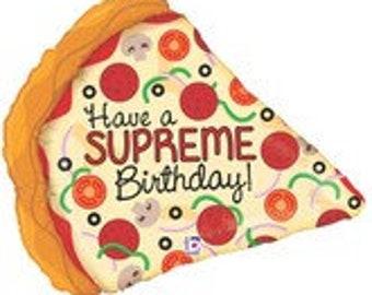 "Supreme Pizza Balloon 29"" Mylar Foil Have A Supreme Birthday Pizza Party Pizza Birthday"