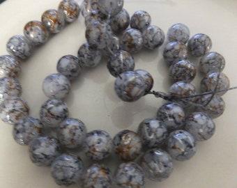 "10mm Black Mottled Drizzled Glass Beads 15"" Strand"
