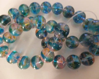 "12mm Blue Stripe/Yellow Spotted Glass Beads 15"" Strand"
