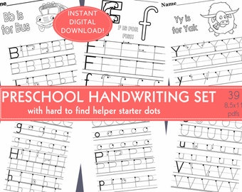 Preschool Handwriting/Dot Tracing Alphabet Tracing Practice Worksheets: family,day care,preschool,child care,home school,early childhood