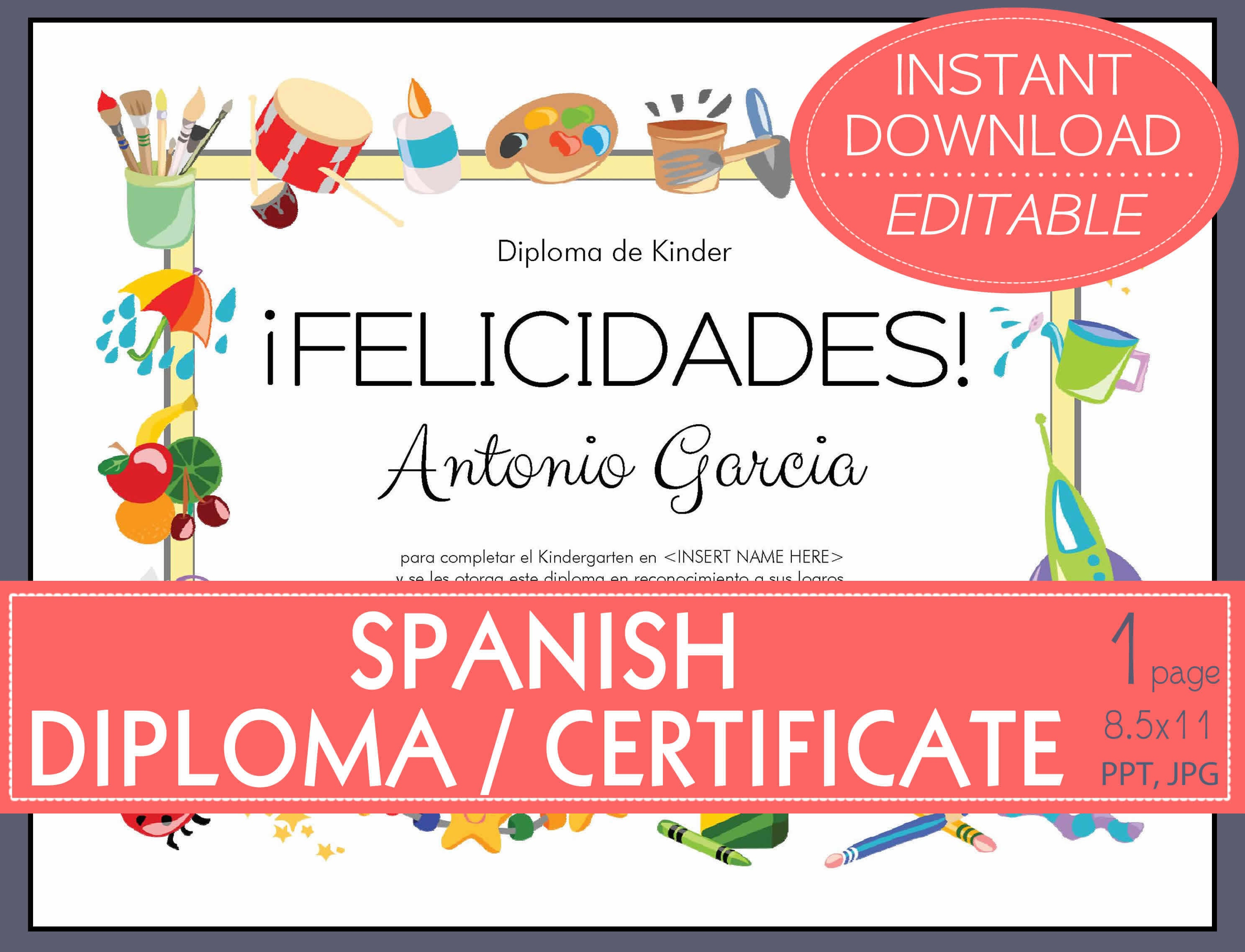 Editable Spanish Certificate Diploma For Graduation Etsy