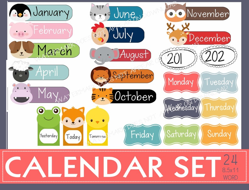photo relating to Months of the Year Printable titled Regular ANIMAL CALENDAR fixed: Weeks, Yr, 7 days times reusable labels. Lovely, revolutionary, animal faces. Term documents. Fast Down load printable.