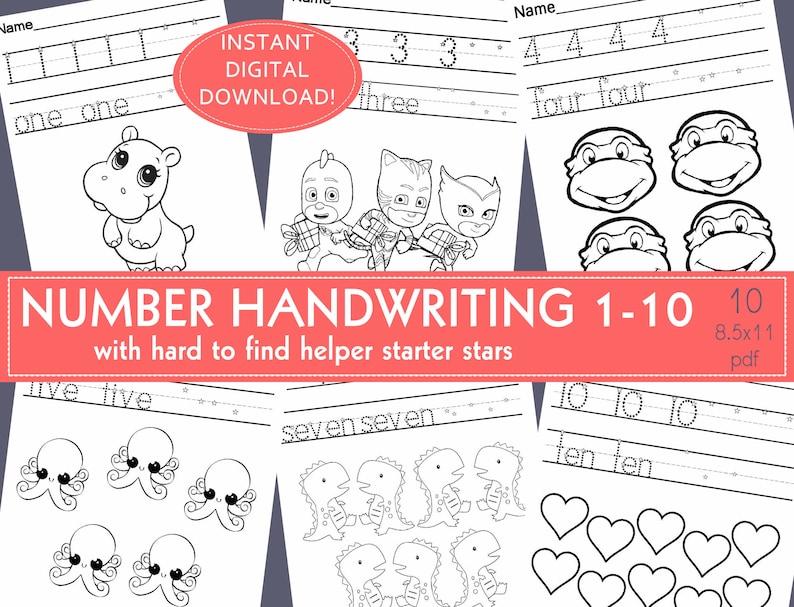 Number Handwriting Practice Worksheets Prek Kindergarten Etsy