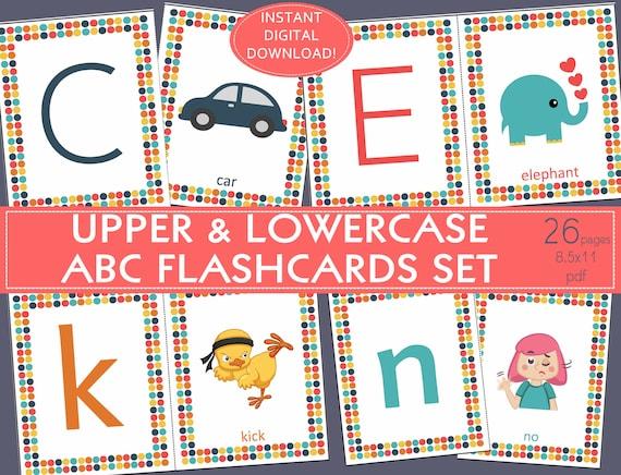 Printable Alphabet Flashcards Set Abc Flashcards Etsy