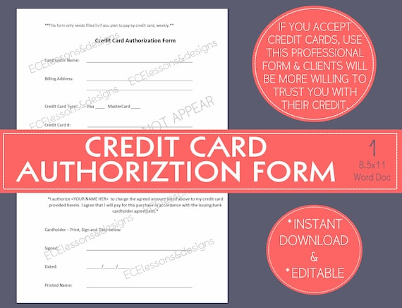 Credit card authorization form small business start up etsy colourmoves