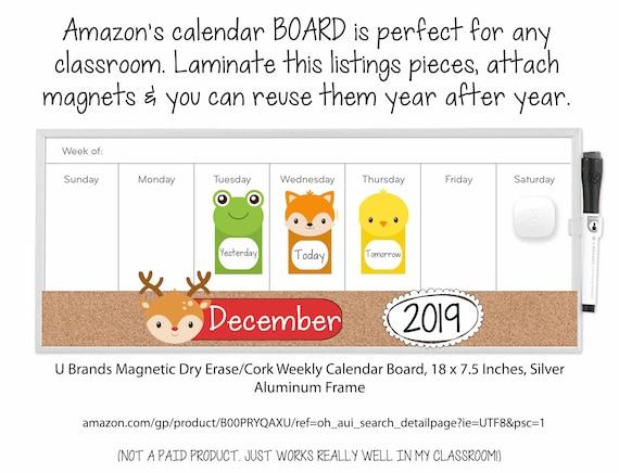 Monthly Animal Calendar Set Months Year Week Days Reusable Etsy
