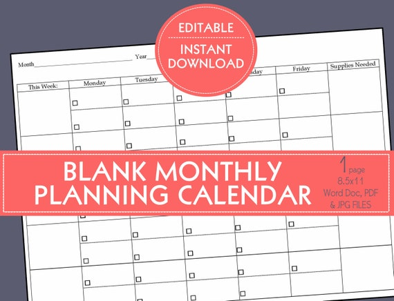 Editable Blank Planning Calendar Template 5 Weeks Preschool In Home Daycare Child Care Small Business Daily Schedule Calendar Template