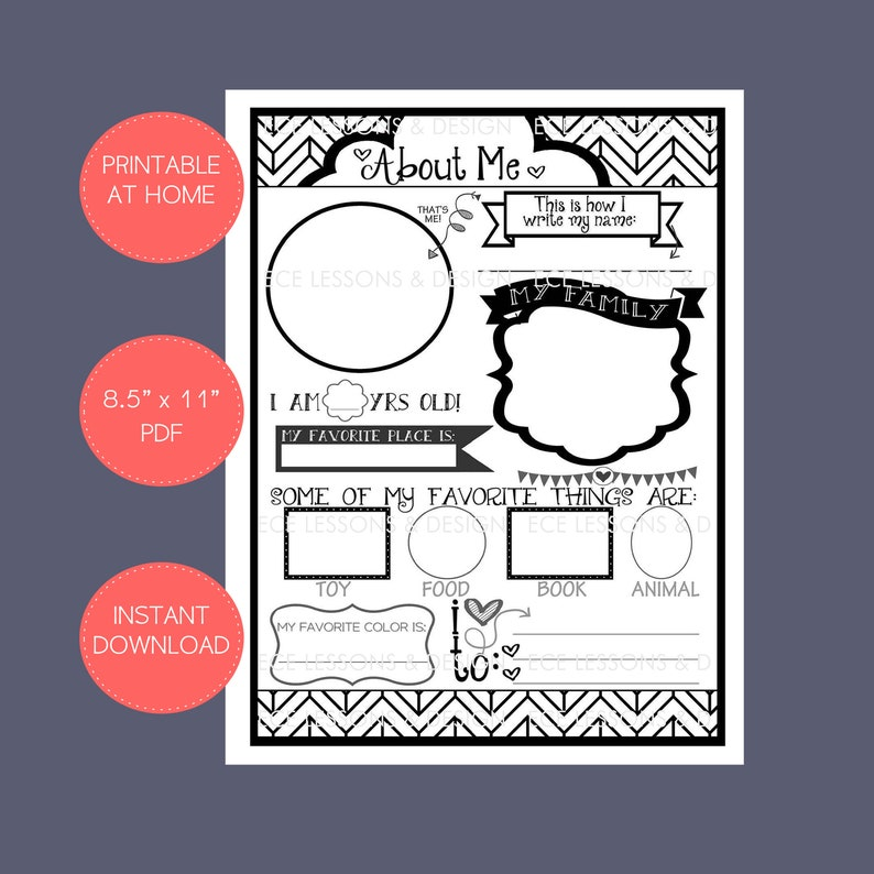 picture about All About Me Poster Printable titled ALL Around me bw impressive printable - Electronic Prompt Down load - Wall Artwork - Daycare/Preschool/VBS/University student of the Thirty day period/birthday/chalkboard