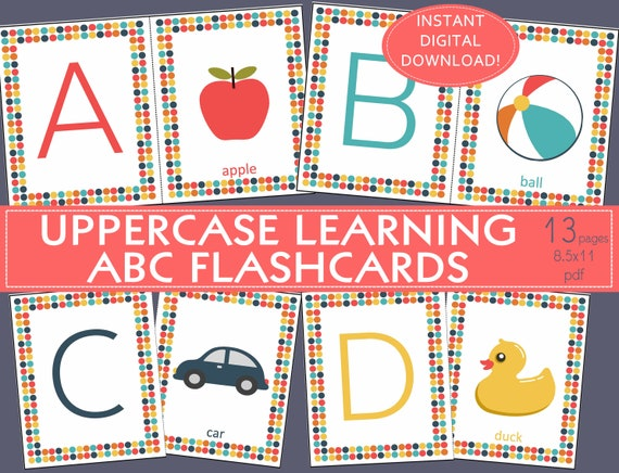 picture about Printable Alphabet Flashcards Without Pictures titled Printable ALPHABET FLASHCARDS, ABC flashcards,Uppercase,Double sided-English A-Z/preschool/daycare/little one treatment/preK/homeschool/attractive artwork