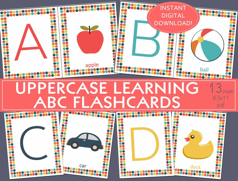 photograph about Printable Alphabet Flashcards titled Printable ALPHABET FLASHCARDS, ABC flashcards,Uppercase,Double sided-English A-Z/preschool/daycare/little one treatment/preK/homeschool/ornamental artwork