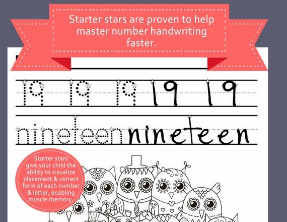 Number Handwriting Practice Worksheets Prek Kindergarten Handwriting Tracer Kindergarten Daycare Preschool Homeschool 11 26