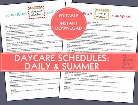 Daycare Schedules Daily Summer Preschool In Home Daycare Child Care Small Business Daily Schedule Calendar Template Early Childhood