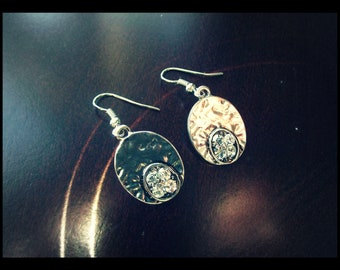 Silver Oval Earrings w/Diamantes