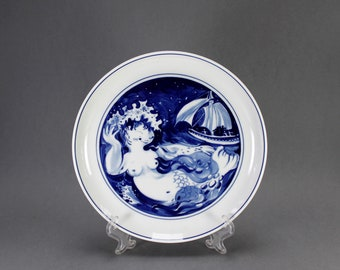Andersen tale Light blue stoneware Dish The rosebush  and the snail from a H.C