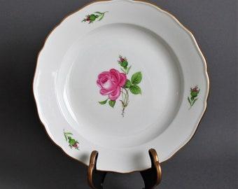 MEISSEN - Blue Crossed Swords - Antique Dinner Plate - Hand Painted - 1930's - Decorated in Roses - German Porcelain