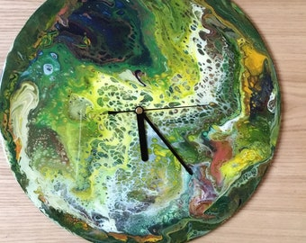 """12"""" clock, flip cup dirty pour onto vinyl LP record, shades of green with touch of gold highlight, Art, Dirty pour, acrylic pour clock, art"""