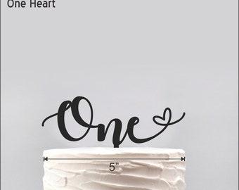 One heart Cake Topper