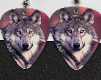 Wolf Guitar Pick Earrings
