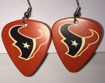 Houston Texans Guitar Pick Earrings