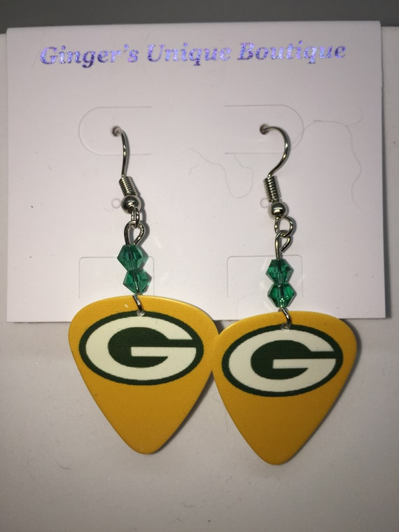 87d02a51e Green Bay Packers Guitar Pick Earring with Swarovski Crystals | Etsy