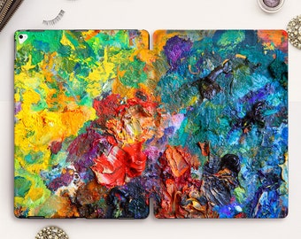 Oil Paint iPad case Rainbow iPad Pro 11 12.9 10.5 Art iPad 9.7 6th 10.2 7th gen Air 3 Mini 5 Girl Men Paint Artist Painted Smart Stand cover