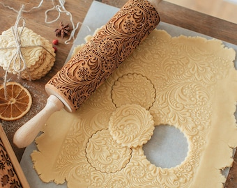 Natural Wood Rolling Pin Decorative Pattern Cookie Stamp Tool Laser Printing Embossing Roller
