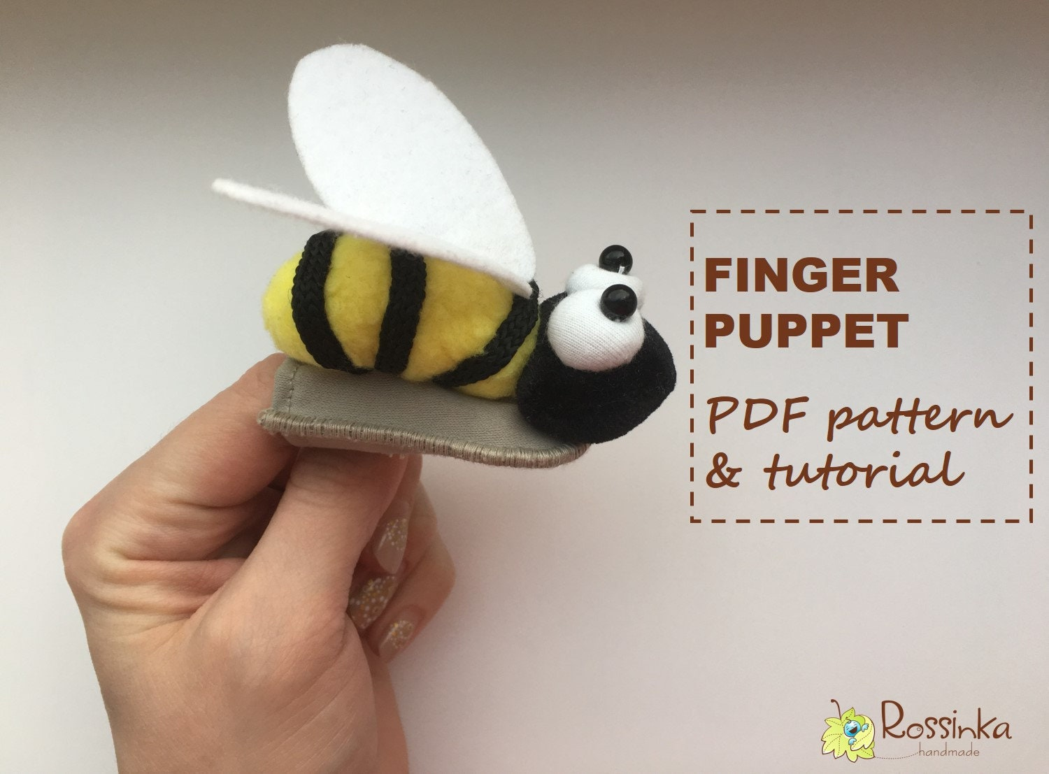 finger puppet bee pdf pattern and detailed tutorial toy | etsy