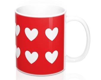 Mug - White Hearts, Red Background