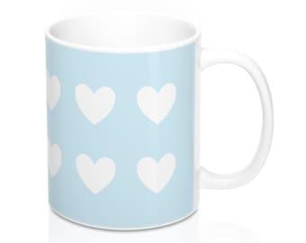 Mug - Hearts, Light Blue and White