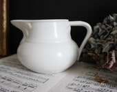 French Antique White Ironstone Water Jug Acanthus Leaf Vintage Pitcher