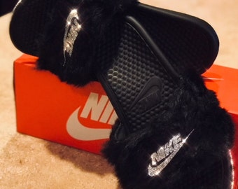 e92eeb458feb49 Nike fur bling slides