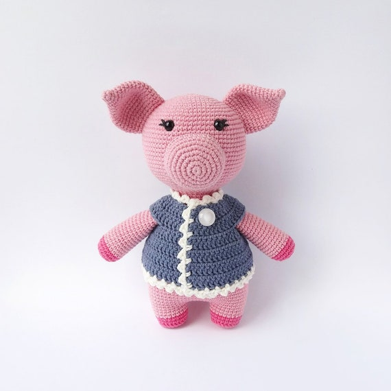 Amigurumi Pig Crochet Pattern Vicky The Pig In A Dress Etsy